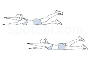 Alternating superman exercise guide with instructions, demonstration, calories burned and muscles worked. Learn proper form, discover all health benefits and choose a workout. http://www.spotebi.com/exercise-guide/alternating-superman/