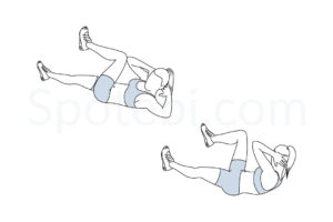 Bicycle crunches exercise guide with instructions, demonstration, calories burned and muscles worked. Learn proper form, discover all health benefits and choose a workout. http://www.spotebi.com/exercise-guide/bicycle-crunches/