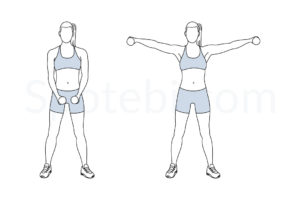 Dumbbell lateral raise exercise guide with instructions, demonstration, calories burned and muscles worked. Learn proper form, discover all health benefits and choose a workout. https://www.spotebi.com/exercise-guide/dumbbell-lateral-raise/