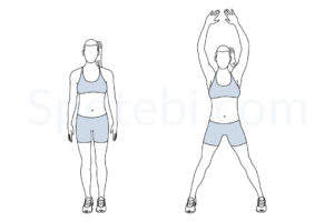 Jumping jacks exercise guide with instructions, demonstration, calories burned and muscles worked. Learn proper form, discover all health benefits and choose a workout. https://www.spotebi.com/exercise-guide/jumping-jacks/