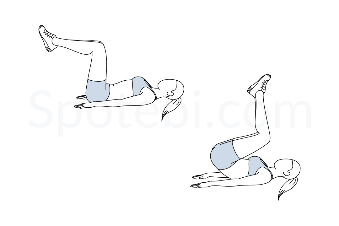 Reverse crunches exercise guide with instructions, demonstration, calories burned and muscles worked. Learn proper form, discover all health benefits and choose a workout. https://www.spotebi.com/exercise-guide/reverse-crunches/
