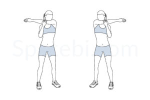 Shoulder stretch exercise guide with instructions, demonstration, calories burned and muscles worked. Learn proper form, discover all health benefits and choose a workout. https://www.spotebi.com/exercise-guide/shoulder-stretch/