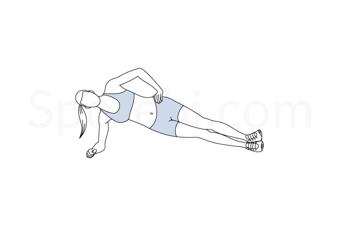 Side plank exercise guide with instructions, demonstration, calories burned and muscles worked. Learn proper form, discover all health benefits and choose a workout. https://www.spotebi.com/exercise-guide/side-plank/
