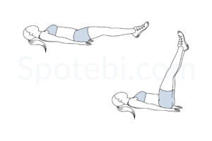 Straight leg raise exercise guide with instructions, demonstration, calories burned and muscles worked. Learn proper form, discover all health benefits and choose a workout. https://www.spotebi.com/exercise-guide/straight-leg-raise/