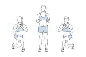 Curtsy lunge exercise guide with instructions, demonstration, calories burned and muscles worked. Learn proper form, discover all health benefits and choose a workout. http://www.spotebi.com/exercise-guide/curtsy-lunge/