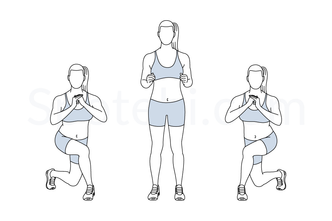 Curtsy Lunge Illustrated Exercise Guide