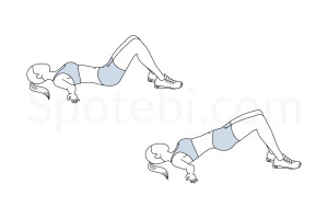 Glute bridge exercise guide with instructions, demonstration, calories burned and muscles worked. Learn proper form, discover all health benefits and choose a workout. http://www.spotebi.com/exercise-guide/glute-bridge/