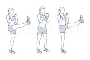 High kicks exercise guide with instructions, demonstration, calories burned and muscles worked. Learn proper form, discover all health benefits and choose a workout. https://www.spotebi.com/exercise-guide/high-kicks/