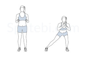 Side lunge exercise guide with instructions, demonstration, calories burned and muscles worked. Learn proper form, discover all health benefits and choose a workout. http://www.spotebi.com/exercise-guide/side-lunge/