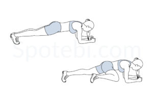 Spiderman plank exercise guide with instructions, demonstration, calories burned and muscles worked. Learn proper form, discover all health benefits and choose a workout. https://www.spotebi.com/exercise-guide/spiderman-plank/