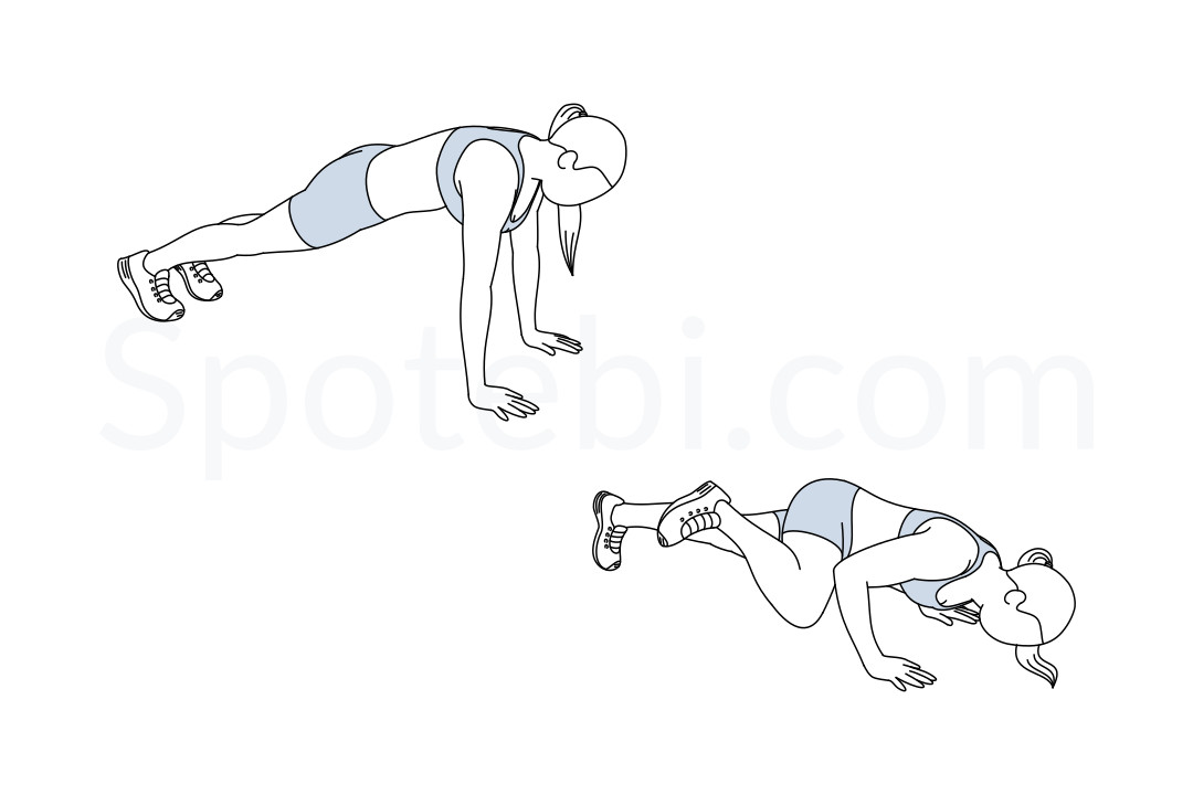 Spiderman push ups exercise guide with instructions, demonstration, calories burned and muscles worked. Learn proper form, discover all health benefits and choose a workout. https://www.spotebi.com/exercise-guide/spiderman-push-ups/