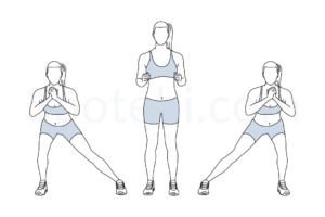 Alternating side lunge exercise guide with instructions, demonstration, calories burned and muscles worked. Learn proper form, discover all health benefits and choose a workout. https://www.spotebi.com/exercise-guide/alternating-side-lunge/