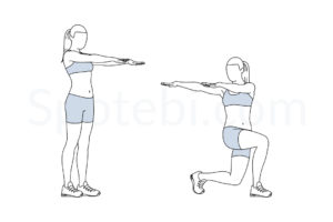 Lunge twist exercise guide with instructions, demonstration, calories burned and muscles worked. Learn proper form, discover all health benefits and choose a workout. https://www.spotebi.com/exercise-guide/lunge-twist/