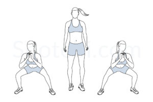 Side to side squats exercise guide with instructions, demonstration, calories burned and muscles worked. Learn proper form, discover all health benefits and choose a workout. http://www.spotebi.com/exercise-guide/side-to-side-squats/