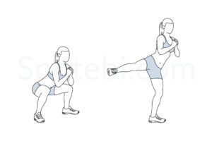 Squat side kick exercise guide with instructions, demonstration, calories burned and muscles worked. Learn proper form, discover all health benefits and choose a workout. https://www.spotebi.com/exercise-guide/squat-side-kick/