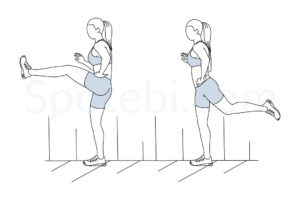 Forward leg swings exercise guide with instructions, demonstration, calories burned and muscles worked. Learn proper form, discover all health benefits and choose a workout. http://www.spotebi.com/exercise-guide/forward-leg-swings/