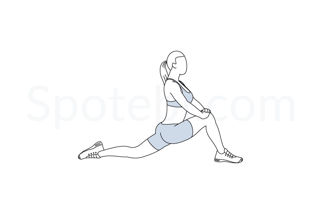 Hip flexor stretch exercise guide with instructions, demonstration, calories burned and muscles worked. Learn proper form, discover all health benefits and choose a workout. https://www.spotebi.com/exercise-guide/hip-flexor-stretch/