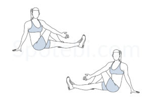 Outer thigh stretch exercise guide with instructions, demonstration, calories burned and muscles worked. Learn proper form, discover all health benefits and choose a workout. http://www.spotebi.com/exercise-guide/outer-thigh-stretch/