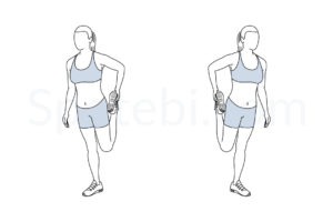 Quad stretch exercise guide with instructions, demonstration, calories burned and muscles worked. Learn proper form, discover all health benefits and choose a workout. https://www.spotebi.com/exercise-guide/quad-stretch/