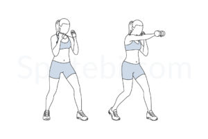 Dumbbell punches exercise guide with instructions, demonstration, calories burned and muscles worked. Learn proper form, discover all health benefits and choose a workout. http://www.spotebi.com/exercise-guide/dumbbell-punches/