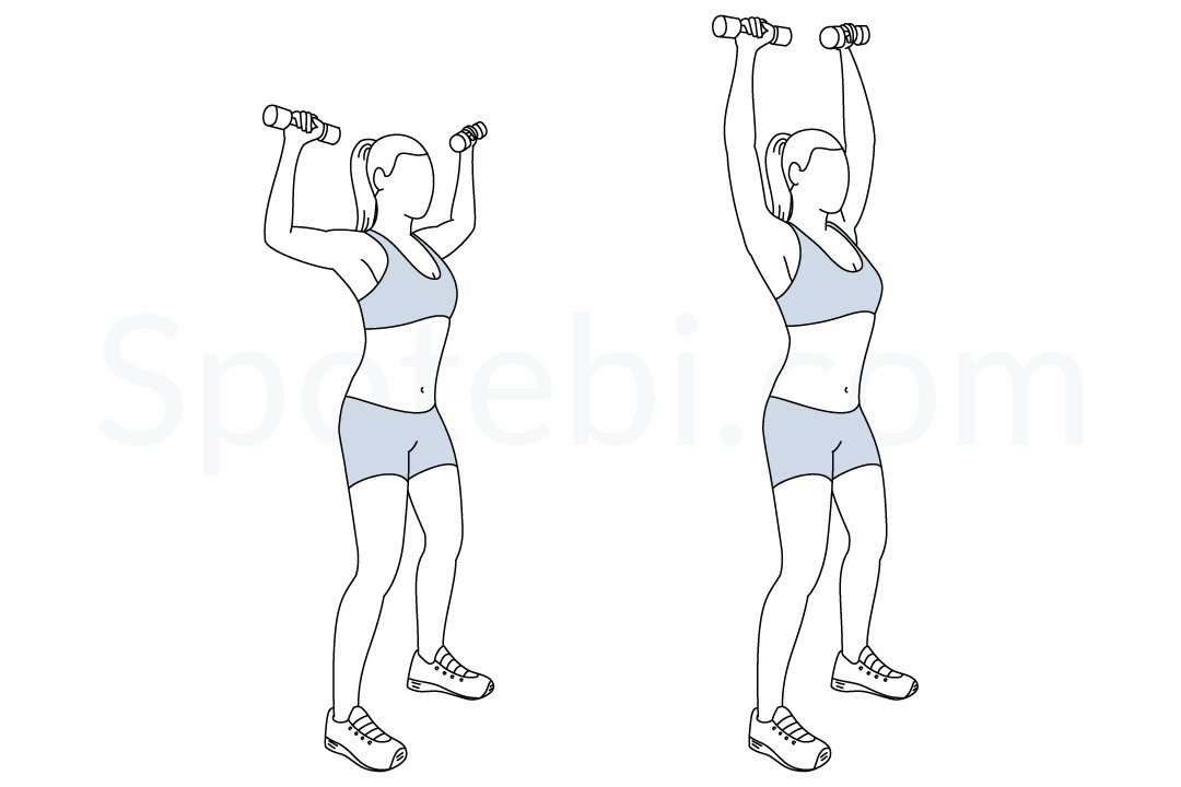 Dumbbell shoulder press exercise guide with instructions, demonstration, calories burned and muscles worked. Learn proper form, discover all health benefits and choose a workout. https://www.spotebi.com/exercise-guide/dumbbell-shoulder-press/
