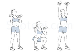 Dumbbell thrusters exercise guide with instructions, demonstration, calories burned and muscles worked. Learn proper form, discover all health benefits and choose a workout. http://www.spotebi.com/exercise-guide/dumbbell-thrusters/
