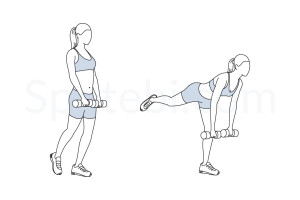 Single leg deadlift exercise guide with instructions, demonstration, calories burned and muscles worked. Learn proper form, discover all health benefits and choose a workout. https://www.spotebi.com/exercise-guide/single-leg-deadlift/