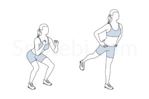 Squat kickback exercise guide with instructions, demonstration, calories burned and muscles worked. Learn proper form, discover all health benefits and choose a workout. https://www.spotebi.com/exercise-guide/squat-kickback/