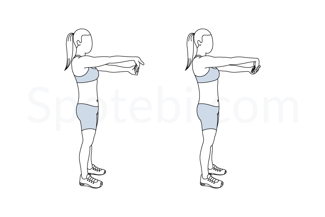 Wrist stretch exercise guide with instructions, demonstration, calories burned and muscles worked. Learn proper form, discover all health benefits and choose a workout. https://www.spotebi.com/exercise-guide/wrist-stretch/