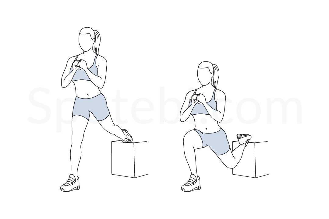 Bulgarian split squat exercise guide with instructions, demonstration, calories burned and muscles worked. Learn proper form, discover all health benefits and choose a workout. https://www.spotebi.com/exercise-guide/bulgarian-split-squat/