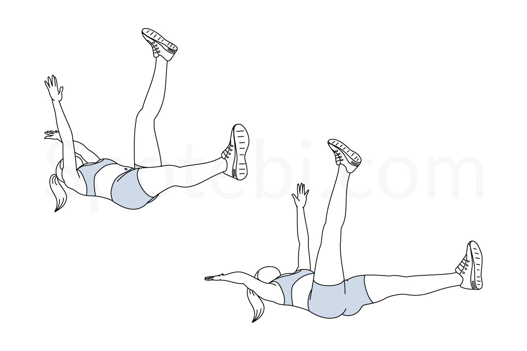 Dead bug exercise guide with instructions, demonstration, calories burned and muscles worked. Learn proper form, discover all health benefits and choose a workout. https://www.spotebi.com/exercise-guide/dead-bug/