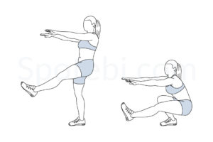 Pistol squat exercise guide with instructions, demonstration, calories burned and muscles worked. Learn proper form, discover all health benefits and choose a workout. http://www.spotebi.com/exercise-guide/pistol-squat/