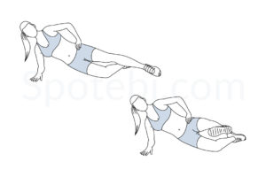 Side plank front kick exercise guide with instructions, demonstration, calories burned and muscles worked. Learn proper form, discover all health benefits and choose a workout. http://www.spotebi.com/exercise-guide/side-plank-front-kick/