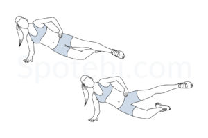 Side plank hip abduction exercise guide with instructions, demonstration, calories burned and muscles worked. Learn proper form, discover all health benefits and choose a workout. http://www.spotebi.com/exercise-guide/side-plank-hip-abduction/