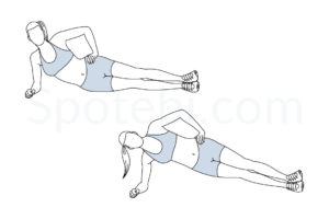 Side plank hip lifts exercise guide with instructions, demonstration, calories burned and muscles worked. Learn proper form, discover all health benefits and choose a workout. https://www.spotebi.com/exercise-guide/side-plank-hip-lifts/