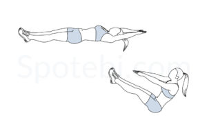V ups exercise guide with instructions, demonstration, calories burned and muscles worked. Learn proper form, discover all health benefits and choose a workout. http://www.spotebi.com/exercise-guide/v-ups/
