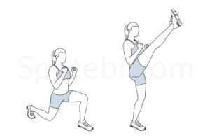 Lunge kicks exercise guide with instructions, demonstration, calories burned and muscles worked. Learn proper form, discover all health benefits and choose a workout. http://www.spotebi.com/exercise-guide/lunge-kicks/