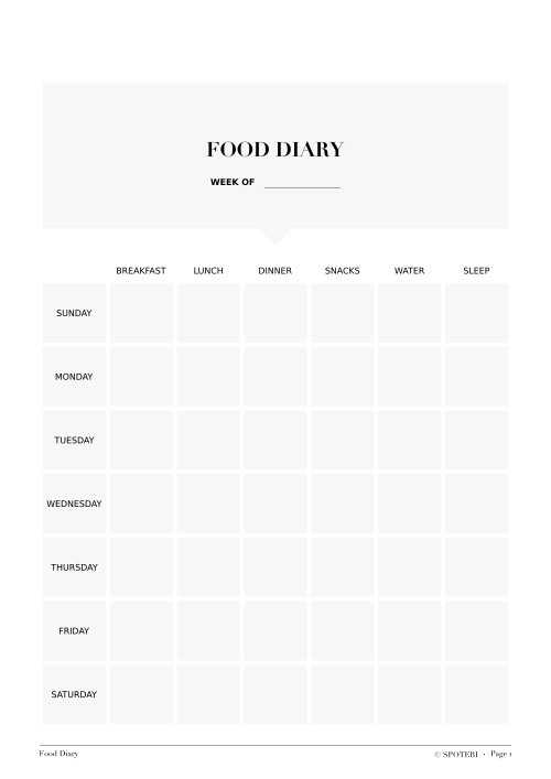 Fitness freebies for Food diaries templates
