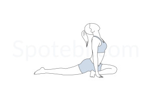Pigeon pose (Eka Pada Rajakapotasana) instructions, illustration and mindfulness practice. Learn about preparatory, complementary and follow-up poses, and discover all health benefits. http://www.spotebi.com/exercise-guide/pigeon-pose/