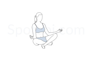 Easy pose (Sukhasana) instructions, illustration and mindfulness practice. Learn about preparatory, complementary and follow-up poses, and discover all health benefits. https://www.spotebi.com/exercise-guide/sukhasana/