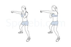 Half squat jab cross exercise guide with instructions, demonstration, calories burned and muscles worked. Learn proper form, discover all health benefits and choose a workout. http://www.spotebi.com/exercise-guide/half-squat-jab-cross/