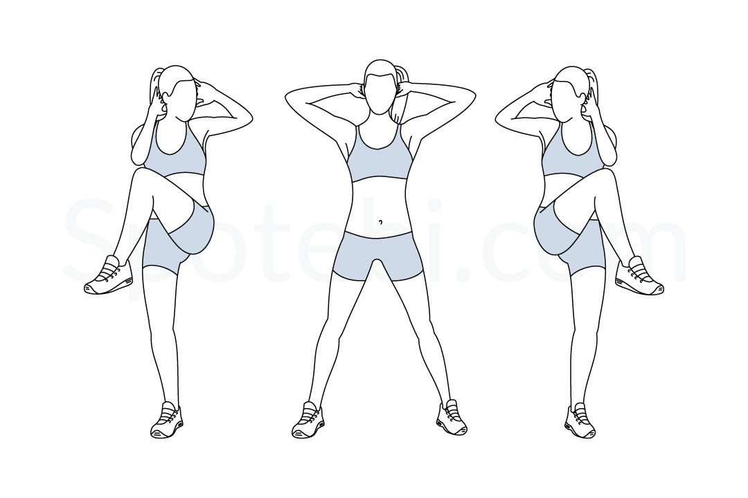 Standing criss cross crunches exercise guide with instructions, demonstration, calories burned and muscles worked. Learn proper form, discover all health benefits and choose a workout. https://www.spotebi.com/exercise-guide/standing-criss-cross-crunches/