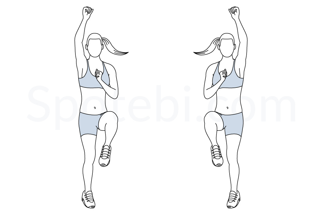 Standing mountain climbers exercise guide with instructions ...