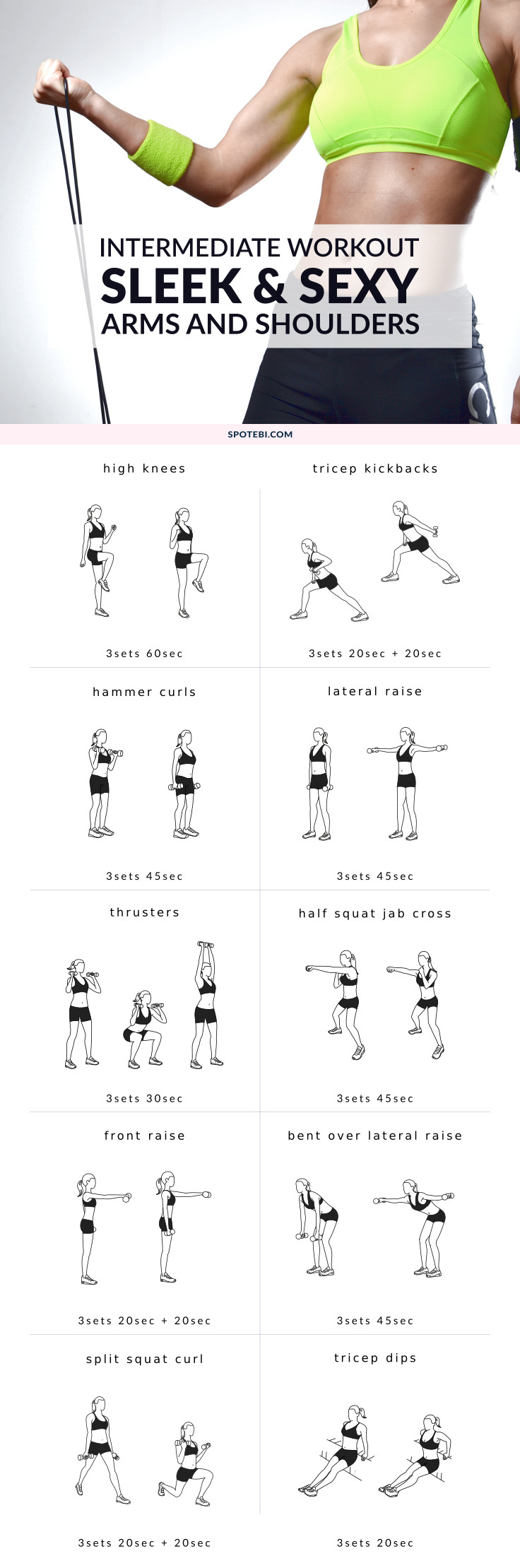 dumbbell workout routine for women. A set of 10 upper body exercises ...