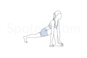 High lunge pose (Alanasana) instructions, illustration and mindfulness practice. Learn about preparatory, complementary and follow-up poses, and discover all health benefits. http://www.spotebi.com/exercise-guide/high-lunge-pose/