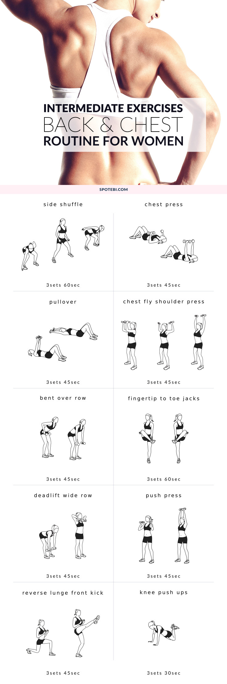 Improve your posture and increase your strength at home with this upper body intermediate workout. A back and chest routine for women that will help you tone your muscles and perk up your breasts! https://www.spotebi.com/workout-routines/upper-body-intermediate-workout/