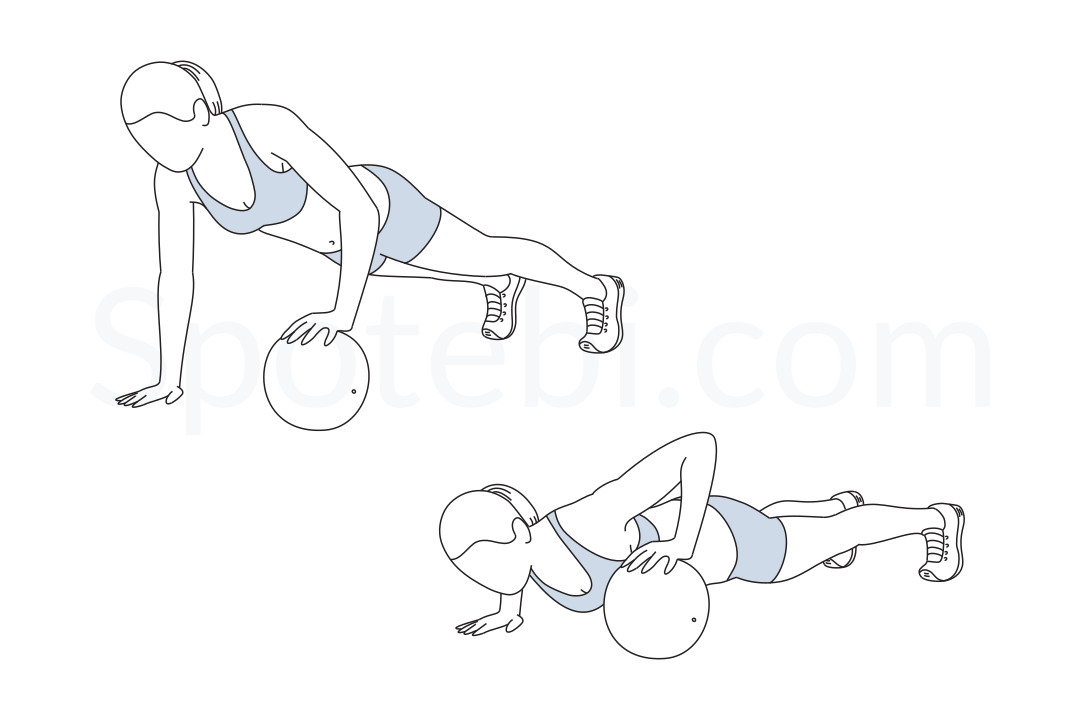 Alternating medicine ball push up exercise guide with instructions, demonstration, calories burned and muscles worked. Learn proper form, discover all health benefits and choose a workout. https://www.spotebi.com/exercise-guide/alternating-medicine-ball-push-up/