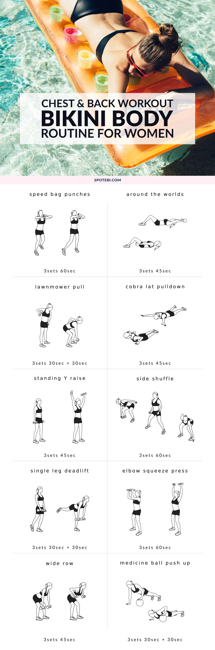 Try this chest and back workout and get your body ready for tank top season! This set of 10 upper body exercises is perfect for toning and shaping the muscles and giving your bust line a lift! https://www.spotebi.com/workout-routines/chest-and-back-workout-bikini-body/