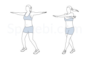 Cross jacks exercise guide with instructions, demonstration, calories burned and muscles worked. Learn proper form, discover all health benefits and choose a workout. https://www.spotebi.com/exercise-guide/cross-jacks/