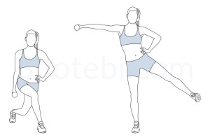 Curtsy lunge side kick raise exercise guide with instructions, demonstration, calories burned and muscles worked. Learn proper form, discover all health benefits and choose a workout. http://www.spotebi.com/exercise-guide/curtsy-lunge-side-kick-raise/
